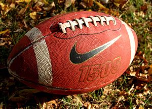 This is a picture of an American football in t...