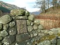 Fragment of cross set into wall of enclosure for St Bride's Chapel - geograph.org.uk - 330234.jpg