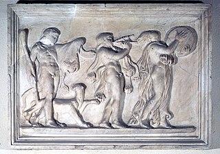 Thiase dionysiaque : Dionysos, un satyre et une bacchante