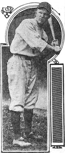 A man in a light-colored baseball uniform with dark high socks stands looking to the left poised to swing his bat.