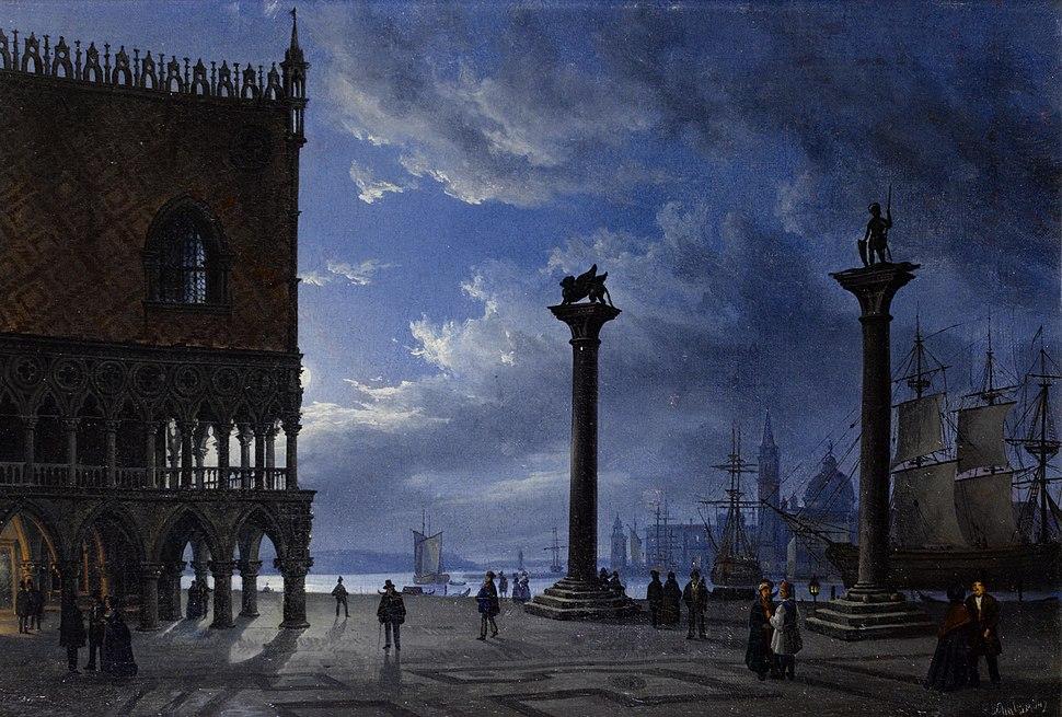 Friedrich Nerly (attr) Piazza San Marco bei Mondschein 1847