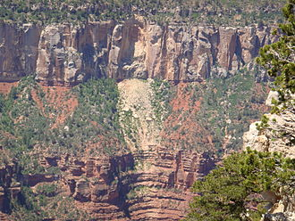 Grand Canyon - Rockfalls in recent times, along with other mass wasting, have further widened the canyon.
