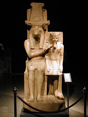 Sumenu - Pair statue of Sobek and Amenhotep III, once housed in the temple of Sobek at Sumenu, and unearthed in the near village of Dahamsha