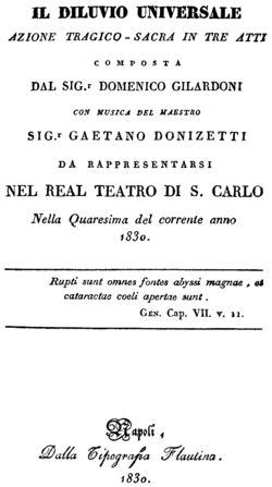 Gaetano Donizetti - Il diluvio universale - title page of the libretto - Naples 1830.png