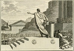 Gaius Gracchus (154 BC - 121 BC), a tribune of the people, presiding over the Plebeian Council. When presiding, the tribune could make motions and propose laws to the council.