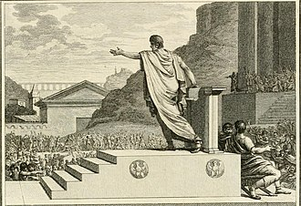 Constitution of the Roman Republic - Gaius Gracchus, tribune of the people, presiding over the Plebeian Council, in an artist's impression from 1799.