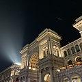 Galleria Vittorio Emanuele II Entrance Arch At Night.jpg