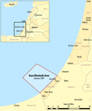 Freedom Flotilla II - Gaza Strip naval blockade area, as published by Israel's Ministry of Transport