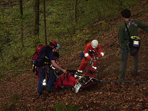 Rescue - Patient in mountain rescue stretcher in Germany.