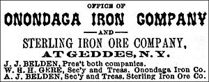 Geddes, New York - Onondaga Iron Works and Sterling Iron Ore Company in Geddes, New York - Syracuse City Directory, 1879