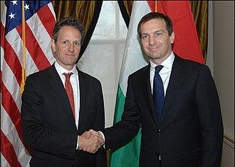 Gordon Bajnai - Bajnai met with U.S. Secretary Timothy Geithner on 4 December 2009