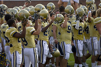 2006 Georgia Tech Yellow Jackets football team - Tech celebrates after a win by singing the fight song with the student section.