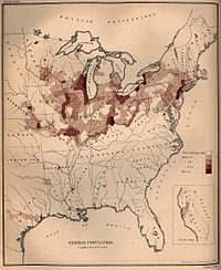 German population density in the United States, 1872.
