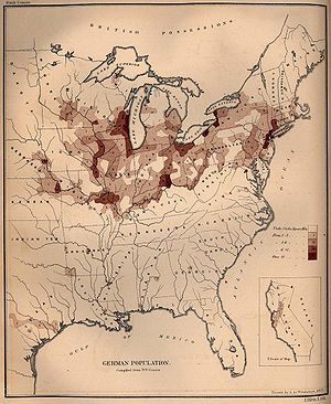 German Americans - German population density in the United States, 1872