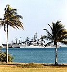 German ships Mölders (D186), Mecklenburg-Vorpommern (F218) and Spessart (A1442) at Naval Station Roosevelt Roads, in 1997.jpg