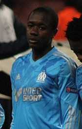 French midfielder Giannelli Imbula, wearing the kit of his former club Olympique de Marseille.
