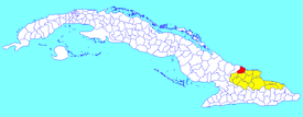 Gibara municipality (red) within  Holguín Province (yellow) and Cuba
