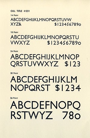 "Gill Sans - An American metal-type specimen sheet of ""Gill Title"". Note the original ""5"", ""7"", ""0"", and ""Q"" in some sizes, which were dropped in many later metal type issues and digital versions, and a non-descending ""J""."