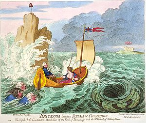 Britannia - In James Gillray's Britannia between Scylla and Charybdis (1793), Britannia is shown without the weapons which would invariably characterise her in the 19th century