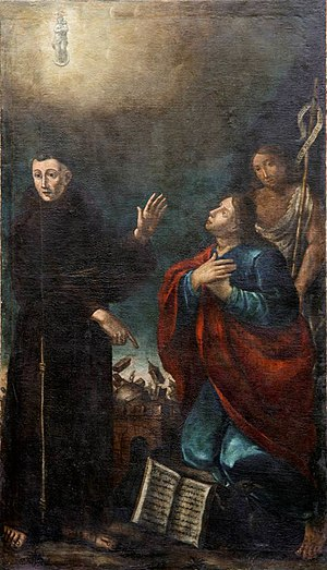 1570 Ferrara earthquake - Giovanni Battista Tinti, St. Francis Solanus shows 1570 earthquake to St. John the Apostle and St. John the Baptist (Municipal pinacotheca of Cento)