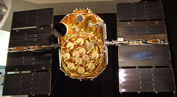 Unlaunched GPS block II-A satellite on display at the San Diego Air & Space Museum Global Positioning System satellite.jpg