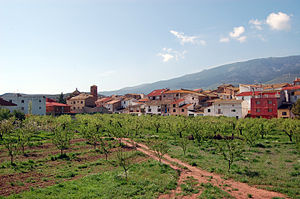 Gotor - View of Gotor with the Sierra de la Virgen in the background