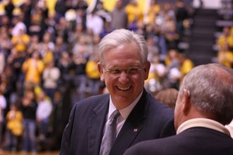 Jay Nixon - Gov. Nixon watches a Missouri Tigers volleyball game at the Hearnes Center, 2013.
