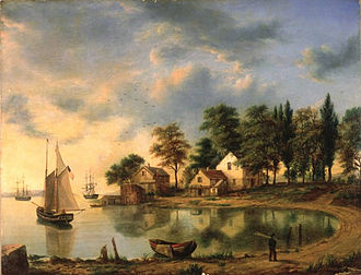 Gowanus Canal - Sunset at Gowanus Bay in the Bay New York (1851) by Henry Gritten