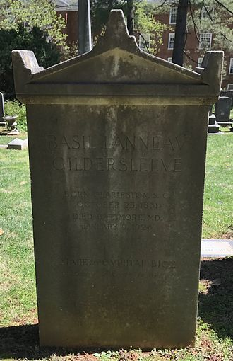 Basil Lanneau Gildersleeve - Gildersleeve's gravestone at the University of Virginia Cemetery in Charlottesville, Virginia.