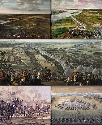 Great Northern War - Clockwise from top: Battle of Narva, Battle of Düna, Battle of Poltava, Battle of Gangut, Battle of Gadebusch