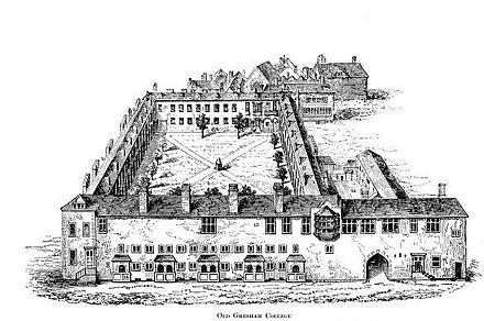 The Royal Society had its origins in Gresham College, and was the first scientific society in the world. Gresham College from Record of RS.jpg