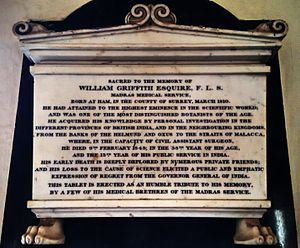 William Griffith (botanist) - Memorial inscription at Madras