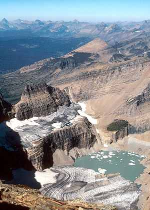 Grinnell Glacier in Glacier National Park (US)...