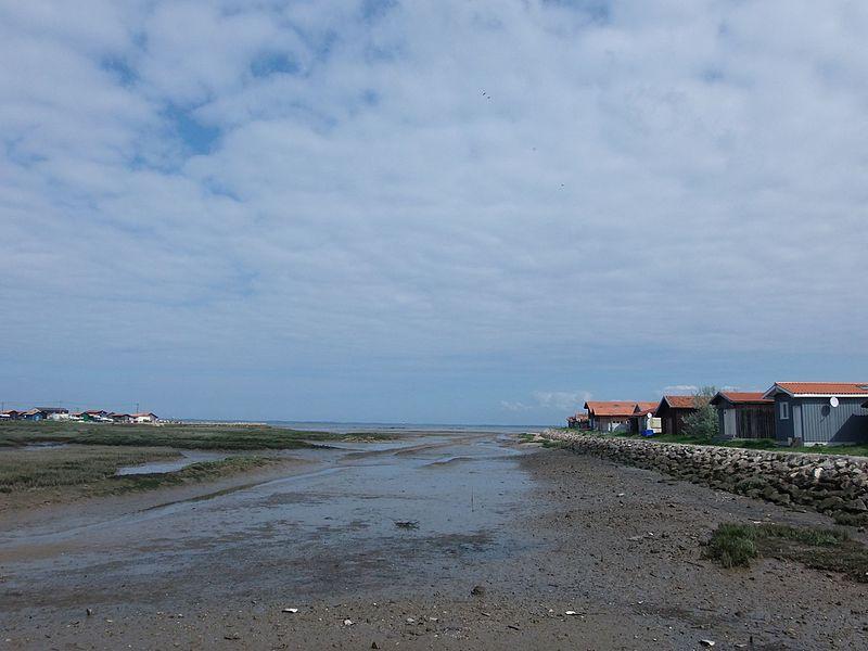 Vue en arrière du port de Larros à Gujan-Mestras (bassin d'Arcachon, Gironde, France), à marée basse. Sur le côté, des cabanes traditionnelles, dont certaines sont des cabanes à huîtres. Vue orientée vers le nord. Voir aussi autre cliché.