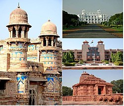 clockwise from left:Gwalior Fort, Jai Vilas Palace, High Court and Sun Temple