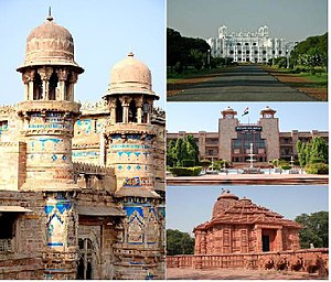 Gwalior - Clockwise from left:Gwalior Fort, The Jai Vilas Palace, High Court and Sun Temple