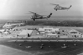 Naval Air Station Ellyson Field - H-19 and H-34 helicopters of HT-8 over NAS Ellyson Field in 1967.