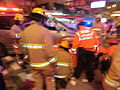HK Cheung Sha Wan Night Cheung Wah Street Un Chau Street traffic accident Firefighters at work Nov-2013 05.JPG