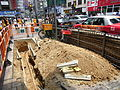 HK Wan Chai Johnston Road sideway re-building construction Aug-2012.JPG