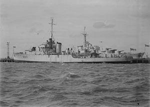 HMAS Diamantina (K377) - Diamantina berthed in Melbourne prior to her 1946 decommissioning