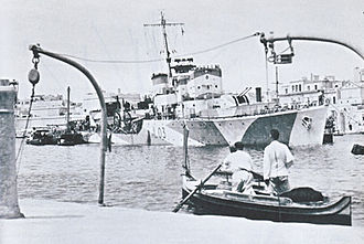 HMS Badsworth (L03) - Badsworth after being hit by a mine near the Grand Harbour.