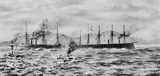 HMS Agincourt (1865) - Hercules (left) towing Agincourt (right) off Pearl Rock