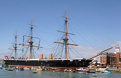 Hms Warrior 1860 The First Iron Hulled Armoured Steam Frigate Hull Survived As An Oil Terminal Dock And Was Red To Its Original Earance In