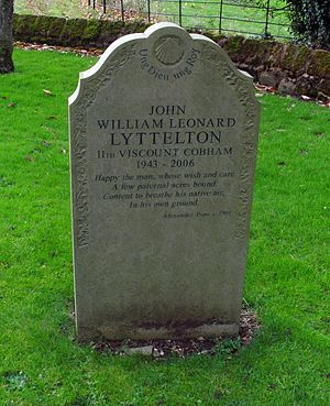 John Lyttelton, 11th Viscount Cobham - St John the Baptist Church, Hagley, grave of John Lyttelton, 11th Viscount Cobham