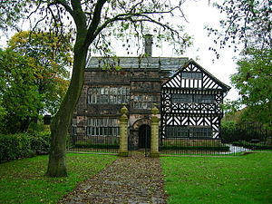 Grade I listed buildings in Greater Manchester - Image: Hall i th Wood manor house front view