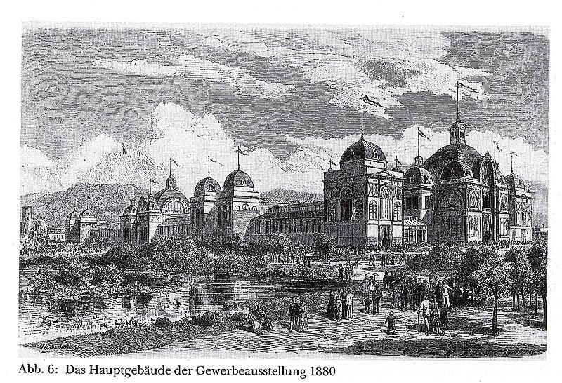 File:Hauptgebäude für die Gewerbe- und Kunstausstellung 1880 im Bereich des ehemaligen Zoologischen Gartens in Düsseldorf, Entwurf Boldt & Frings.jpg