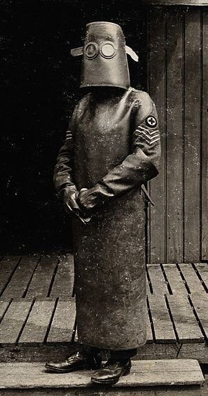 Hazmat suit - World War One, France, 1918: a radiographer wearing a hazmat suit