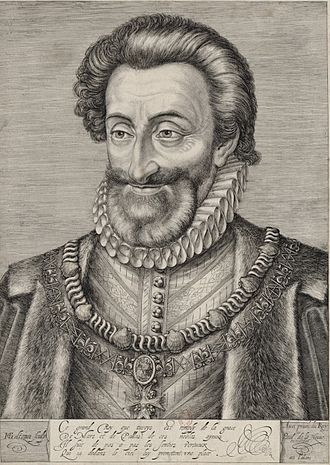 Succession of Henry IV of France - King Henry IV of France, until 1589 known as Henry of Navarre. 17th century engraving by Henri Goltzius.