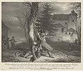 Heldendaad van fuselier Clausse Kloekmoedigheid van den fuselier Clausse, betoond met het redden van zijnen gewonden wapenbroeder Engster, Op den 19 Jan.ij 1831, in het gevecht bij het Kasteel Castert aan de linker Maas, RP-P-OB-29.923.jpg