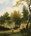 Hendrik Pieter Koekkoek - Idyllic summer forest landscape with sheep on a sunlit glade next to creek.jpg